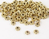 Bead Spacer 100 Gold Color Daisy Flower 5mm x 2mm NF (1074spa05d1)xz