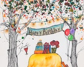 Happy Birthday Tree, Custom Watercolor, 10 x 8 inches