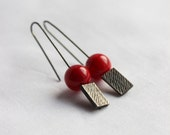 Red coral Rectangular earrings, Sterling silver with black patina, Oxidized , texture, geometric, rectangular, dangle, medium