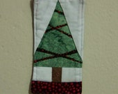 Scrappy  Rustic Christmas Tree Ornament or Mini Quilt