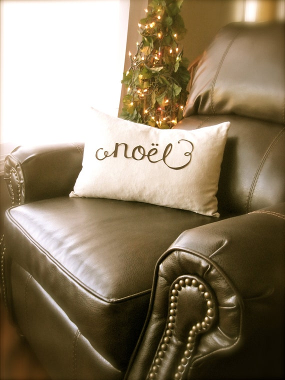 NOEL Scripted Christmas Pillow Cover in Natural Linen Color
