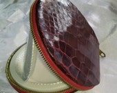 Vintage 1950s Alligator Compact from Argentina. NOS never used powder case in glossy red oxblood wine color.
