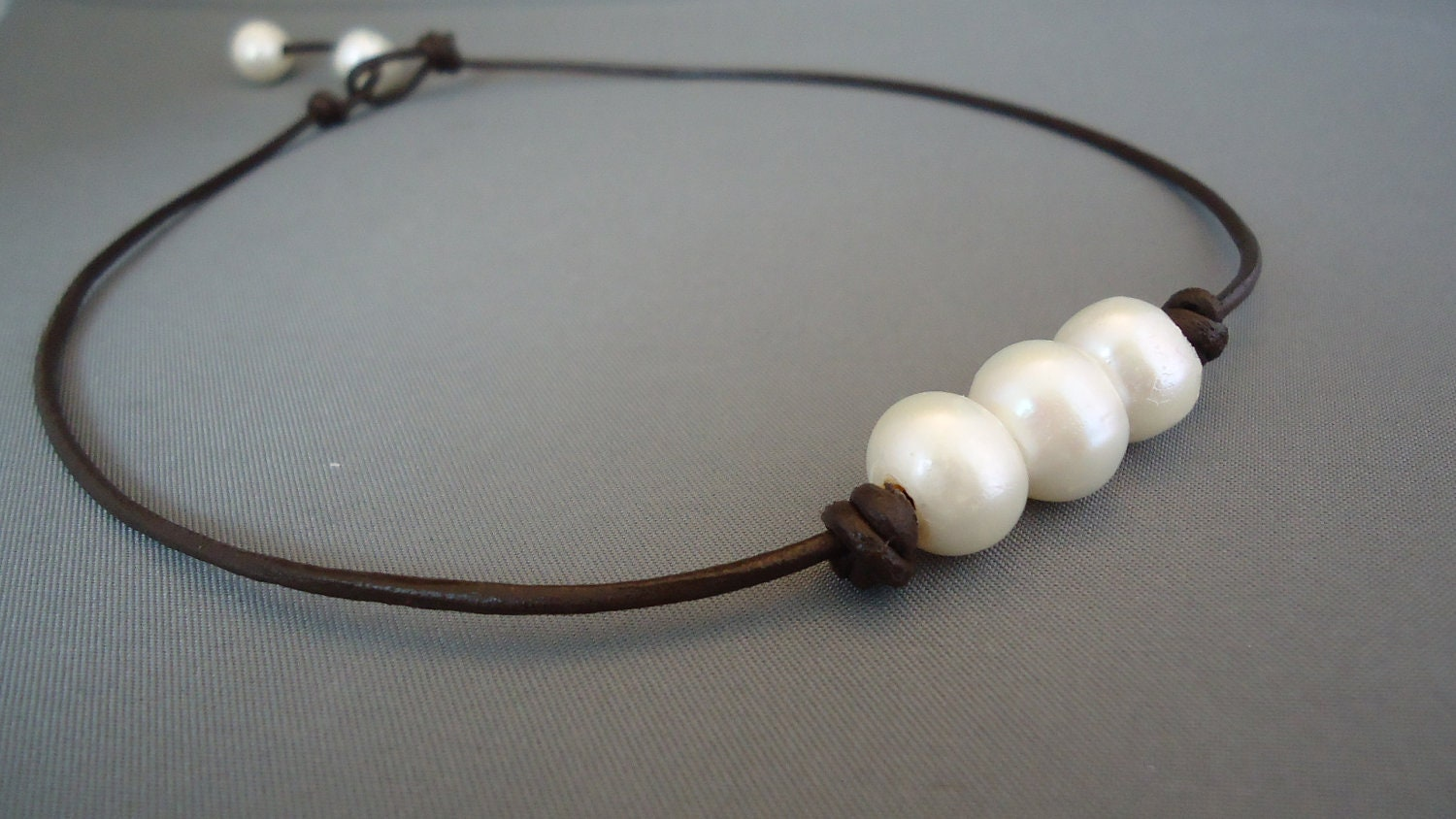 Three Wishes Pearl Leather Necklace  Product Images Of