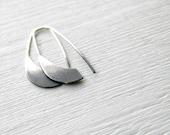 Ombre Industrial Silver Earrings  - handmade sterling silver organic look hoop earrings, black and white, made in Italy