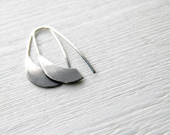Ombre Industrial Silver Earrings  - handmade sterling silver organic look hoop earrings, black and white, made in Italy