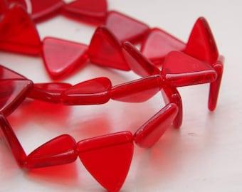 10pcs Czech Glass Triangle -Siam Ruby 17mm (PG32600)