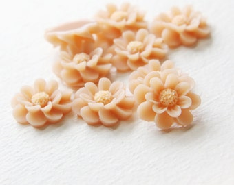 6pcs Acrylic Flower Cameo Cabochons- Beige 18mm (27F26)