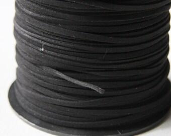 5 meters of Faux Suede - Black 2.5mm