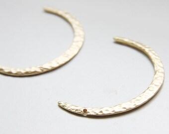 2 Pieces Premium Matte Gold Plated Base Metal Charm - Moon 48x34mm (236C-Q-18)
