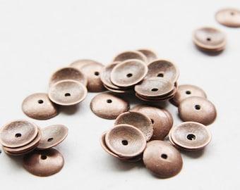 60pcs Antique Copper Tone Base Metal Caps- 9.5mm (13192Y-P-68E)