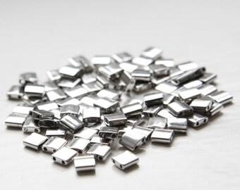 5 Grams Japanese Miyuki Tila Beads-Flat Square-Silver Opaque 5x5x1.9mm (TL194)