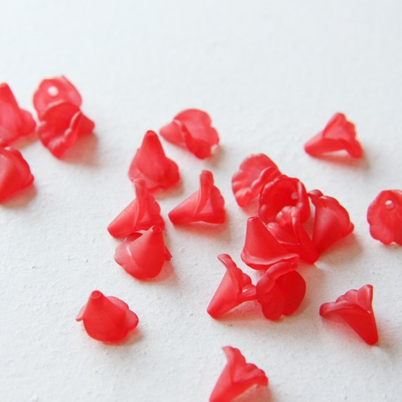 100pcs flower-shaped acrylic beads-Flower-Matte Red 10mm (21A11M150)