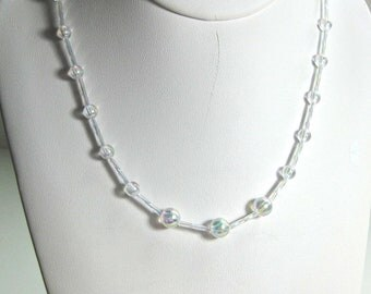 Necklace with clear iridescent beads, bubble necklace.