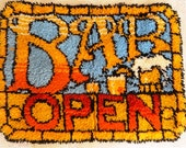 Vintage BAR OPEN sign in yarn, stained glass design