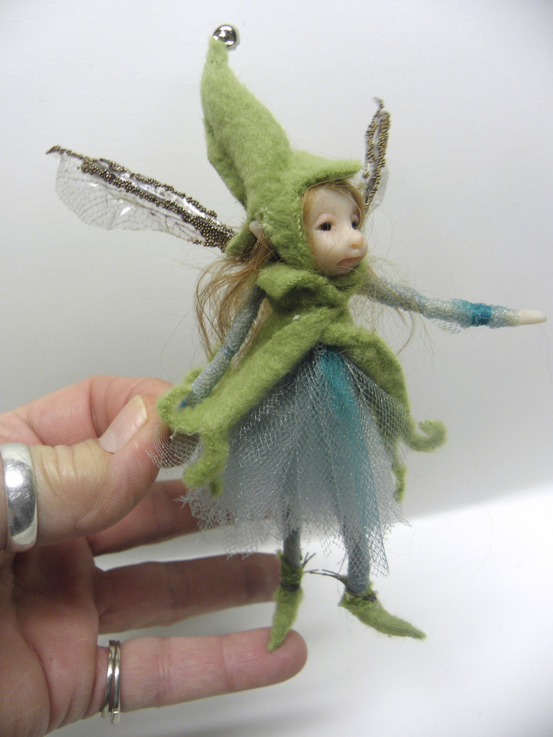 Tiny ooak pose able fairy pixie elf art doll by dinkydarlings How to make a fairy door out of clay