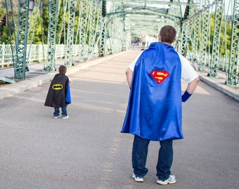 ADULT SUPERMAN CAPE- Reversible Red on inside