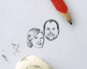 Custom face portrait / drawing / for couple personalised engagement weddings family thank you save the date invitations cards etc.