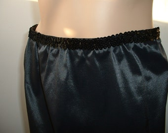 """Vintage Black Vanity Fair Slip Skirt """"Pretty in Plus"""" Upcycled Repurposed w/Sequin Waistband & Lace Trim Holiday Party Skirt"""