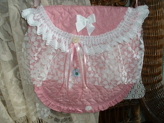 Handmade Tattered Vintage Bag, Purse, Tote - Pink & Lace, Buttons 'n Bows for the Girly Girl