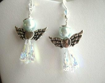 artemis crystal, blue pearls ... Angels Of Love ... dangle earrings ... #216
