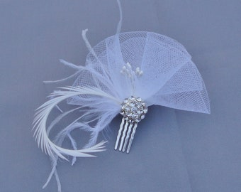 Wedding Bridal White Horsehair Ribbon Flower And Feather Hair Comb
