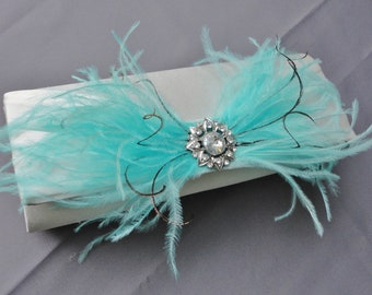 Wedding Formal White Evening Clutch Adorned With Aqua Blue Ostrich Feathers And A Rhinestone Brooch