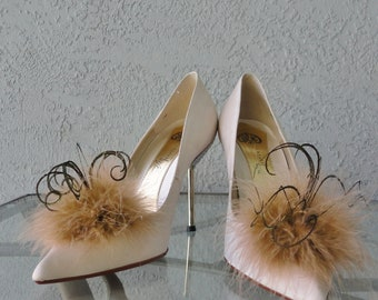 Tan And Gold Marabou Feather Shoe Clips More Colors Available