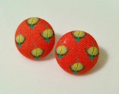 coral floral - fabric button earrings