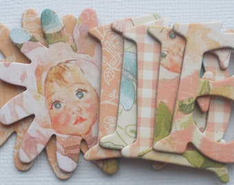 HEAVEN SENT - Little Darlings Chipboard Alphabets and Flower Die Cuts -  1.5 inch Letters