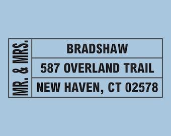 Mr and Mrs Bradshaw Custom Self-Inking Return Address Stamp Design 200-034