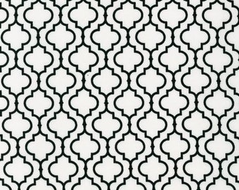 Three (3) Yards- Metro Living Geometric Print Black Cream by Robert Kaufman Fabrics EIP-11018-1 White