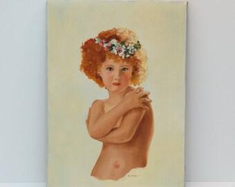 Vintage Little Girl with Flower Headband Framed Oil Painting