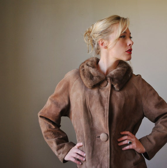 1970s Coffee Brown Suede & Fur Coat, size medium md to large lg