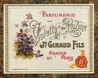 Antique Vintage French Apothecary Perfume Label 24