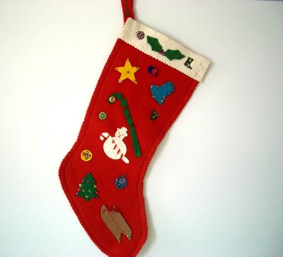 VINTAGE Bucilla Handmade Felt & Sequin Stocking