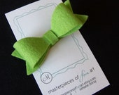 Apple Green Wool Felt Hair Bow - lime green felt bow hair clips - back to school clippies