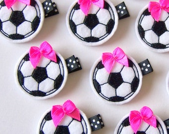 Black and White Soccer Felt Hair Clip with hot pink bow - Felt Clippie - Girls Soccer Hair Bow with Non Slip Grip Clip - Customize Bow Color