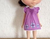 Violet smocked dress with colorful circles hand embroidery for Blythe