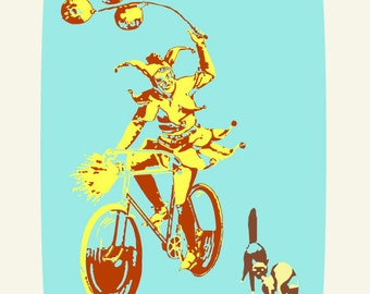 Bicycle Print, The Jester and the Scaredy Cats, Fine Art Archival Giclee