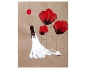 Print Lady Of The Poppies Red Black Woman Girl Poppy Flower Abstract Fantasy Surreal
