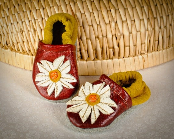 Daisy Soft Soled Leather Slipper Shoes Toddler 12-18m, 18-24m, 2-3years