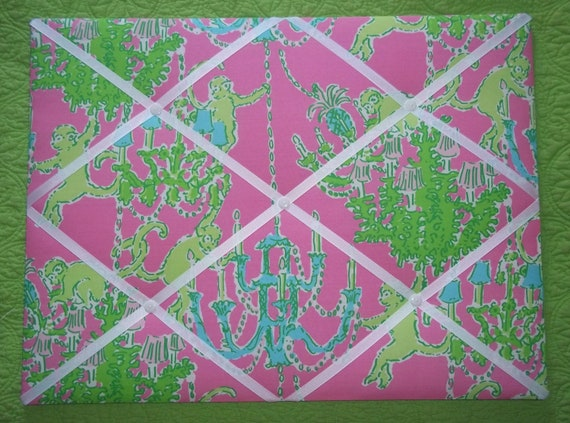 New memo board made with Lilly Pulitzer Monkey Trouble fabric