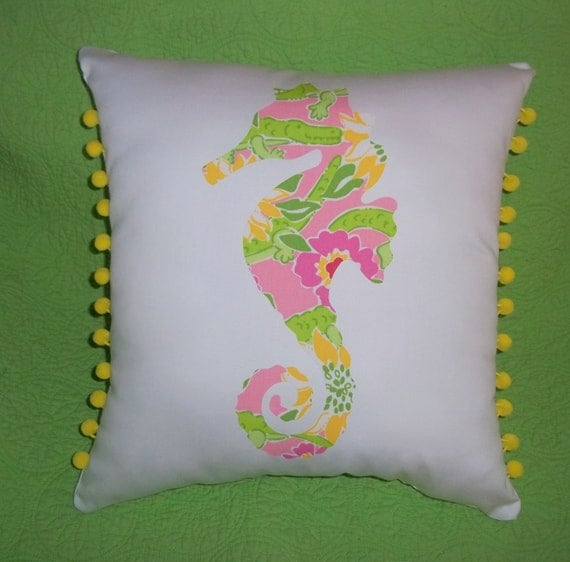 Made to Order pillow, one new custom Seahorse Pillow made with Lilly Pulitzer Croc Monsieur fabric
