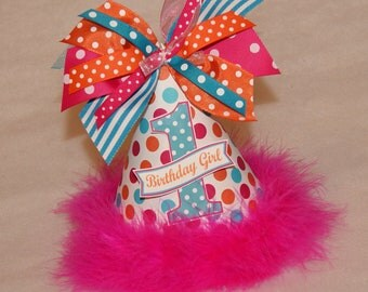SALE!  Bright Polka Dot Party Hat - Orange, Hot pink, Turquoise
