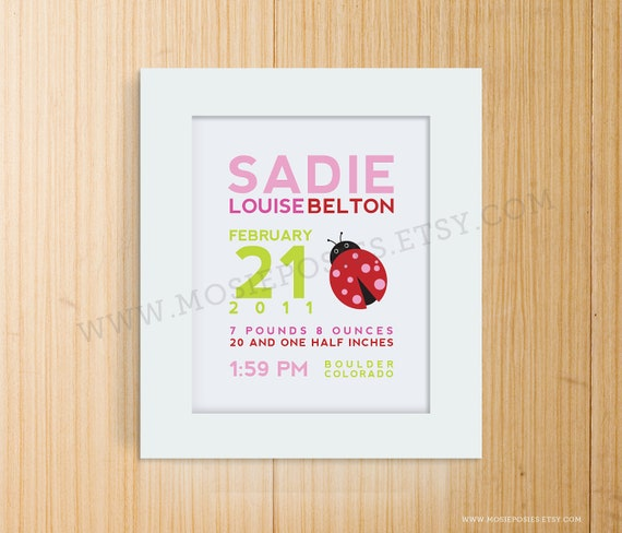 Custom Birth Announcement Print - LADYBUG Wall Art