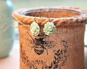 Aqua Rose - Vintage Style Bronze Earrings