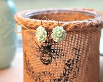 Aqua Rose - Vintage Style Bronze Earrings