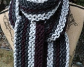 Purple Grey Scarf - Chunky Knit - Striped - Eggplant Plum - Charcoal Gray - Light Marble Multicolor Extra Long Vertical Stripe Neckwarmer