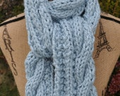 Cable Knit Chunky Scarf - Blue Winter Womens Scarf - Ladies Handknitted Scarf - Warm Wool Chunky Knit Cable Scarf - Light Glacier Blue