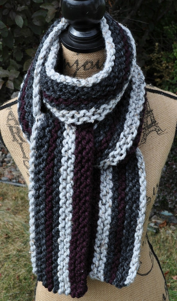 Vertical Striped Scarf Knitting Pattern : Items similar to Purple Grey Scarf - Chunky Knit - Striped - Eggplant Plum - ...
